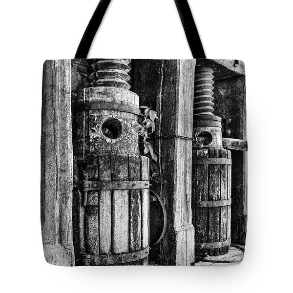 Vintage Wine Press Bw Tote Bag