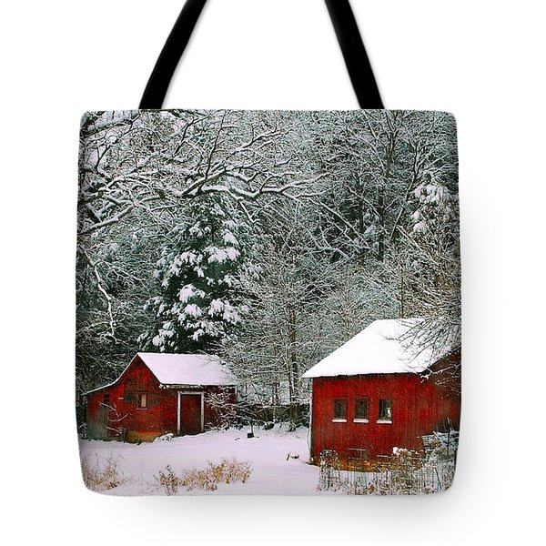 Vintage Winter Barn  Tote Bag