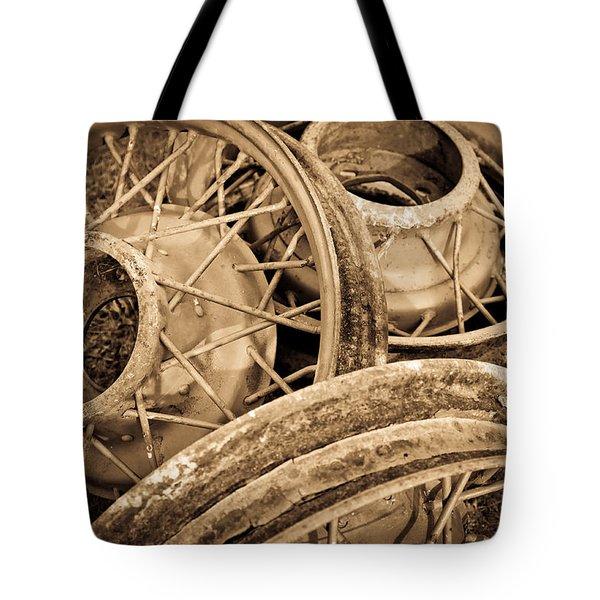 Vintage Wire Wheels Tote Bag by Steve McKinzie