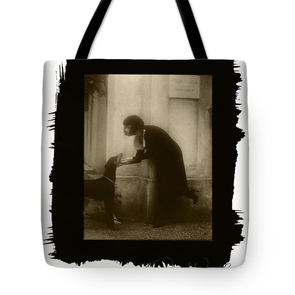 Vintage Woman With Dog Tote Bag