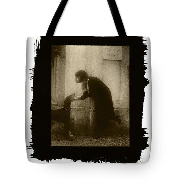 Vintage Woman With Dog Tote Bag