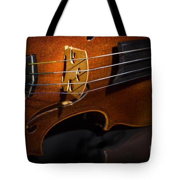 Viola Violin On Tabletop String Bridge In Color 3077.02 Tote Bag