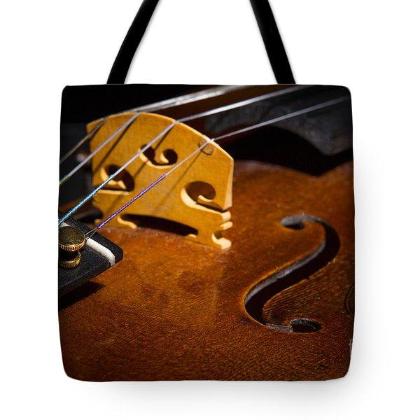 Viola Violin String Bridge Close In Color 3076.02 Tote Bag