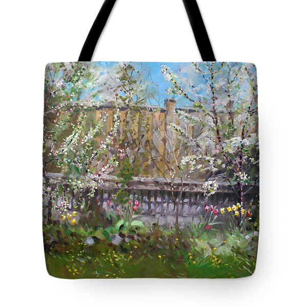 Viola's Apple And Cherry Trees Tote Bag by Ylli Haruni