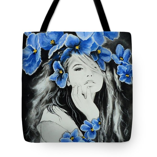 Tote Bag featuring the drawing Violet by Carla Carson
