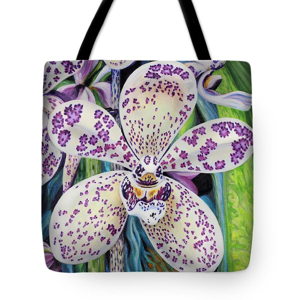 Tote Bag featuring the painting Violet Dotted Orchid by Jane Girardot