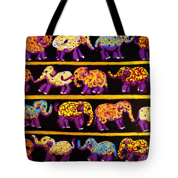 Violet Elephants Tote Bag
