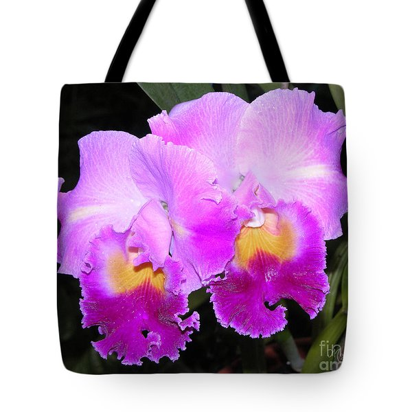 Tote Bag featuring the photograph Violet Orchids by Mariarosa Rockefeller