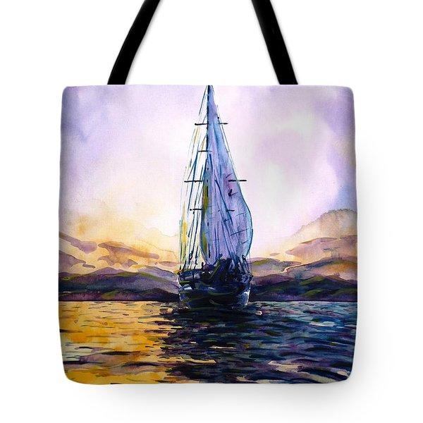 Violet Sunset Tote Bag by Zaira Dzhaubaeva