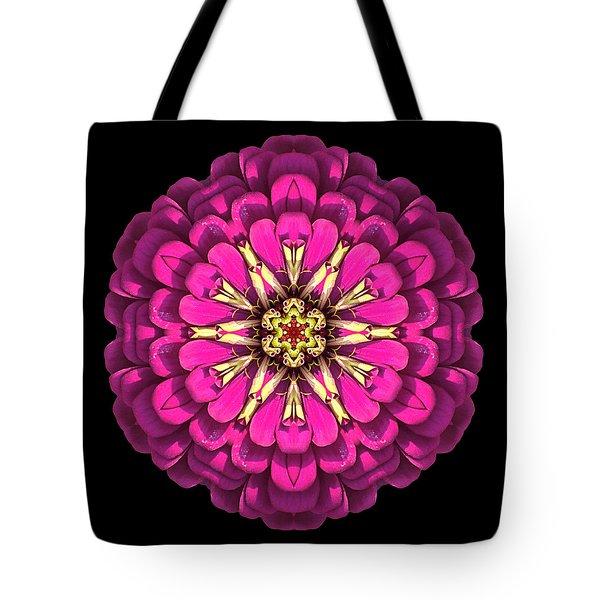 Violet Zinnia Elegans Flower Mandala Tote Bag by David J Bookbinder