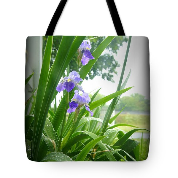 Tote Bag featuring the photograph Iris With Dew by Laurie Perry
