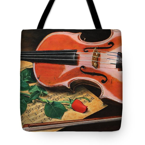 Violin And Rose Tote Bag