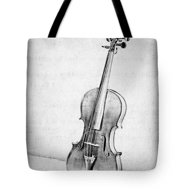 Violin In Black And White Tote Bag