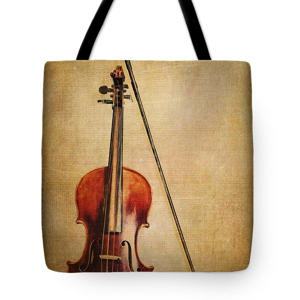 Violin With Bow Tote Bag by Emily Kay