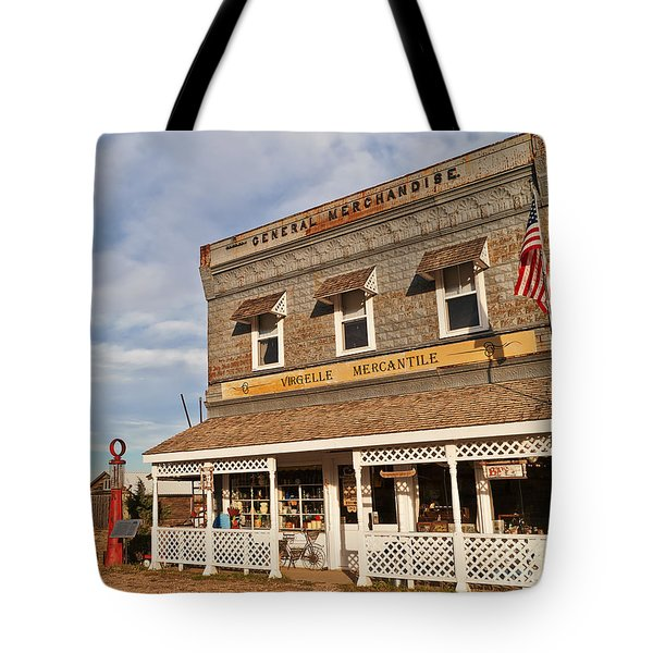 Tote Bag featuring the photograph Virgelle Mercantile by Sue Smith
