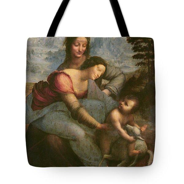 Virgin And Child With Saint Anne Tote Bag by Leonardo Da Vinci