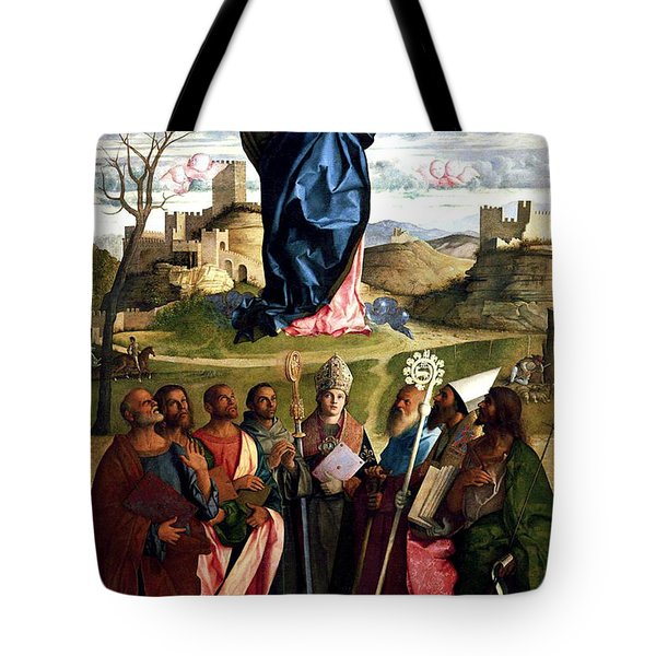 Tote Bag featuring the painting Virgin In Glory With Saints 1515 Giovanni Bellini by Karon Melillo DeVega