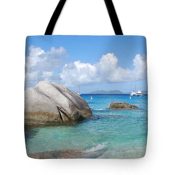 Virgin Islands The Baths With Boats Tote Bag