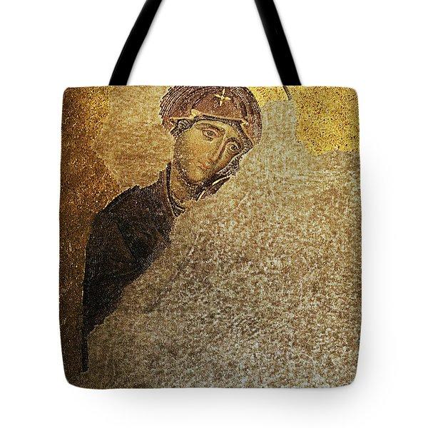 Virgin Mary-detail Of Deesis Mosaic  Hagia Sophia-day Of Judgement Tote Bag