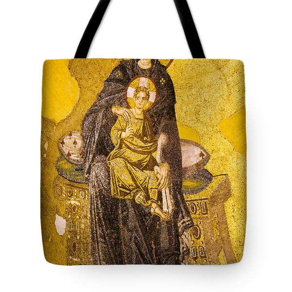 Virgin Mary With Baby Jesus Mosaic Tote Bag