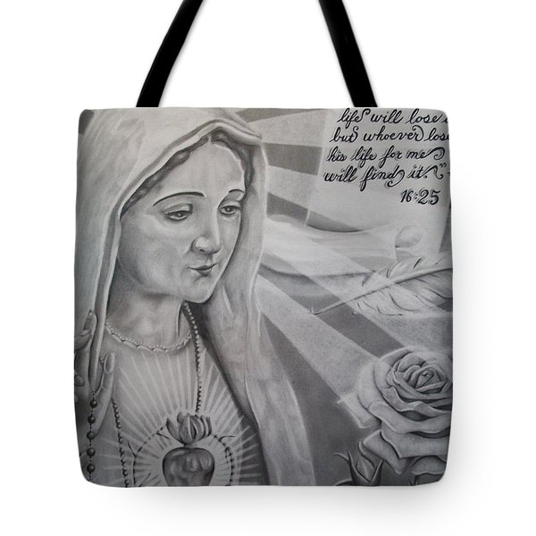 Virgin Mary With Flower Tote Bag by Anthony Gonzalez
