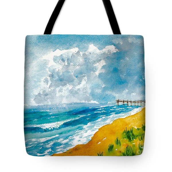 Virginia Beach With Pier Tote Bag