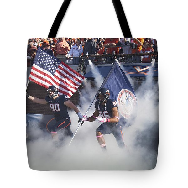 Virginia Cavaliers Football Team Entrance Tote Bag by Jason O Watson