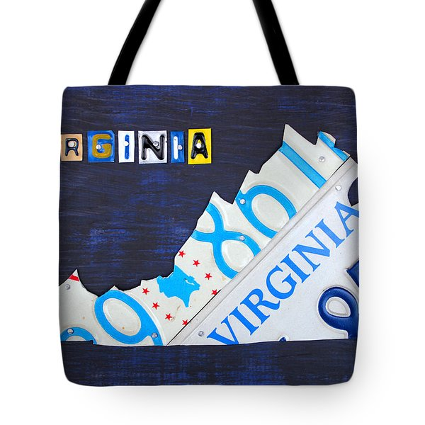 Virginia License Plate Map Art Tote Bag by Design Turnpike