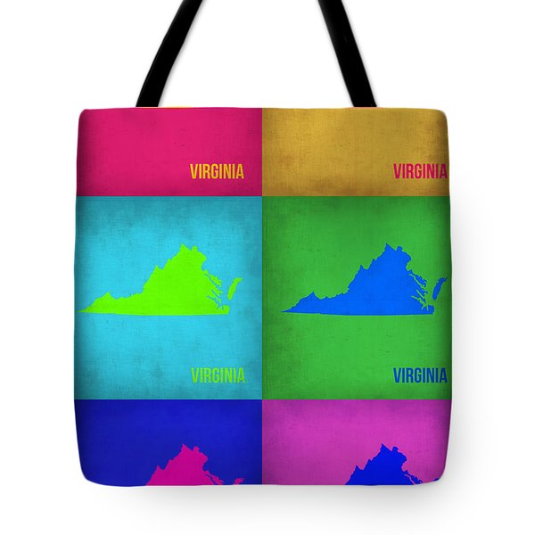 Virginia Pop Art Map 1 Tote Bag by Naxart Studio