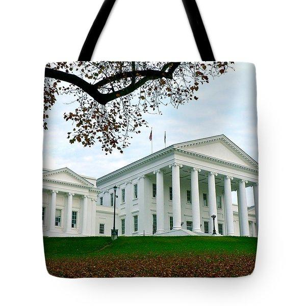 Virginia State Capitol In Autumn Tote Bag