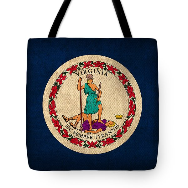 Virginia State Flag Art On Worn Canvas Tote Bag by Design Turnpike