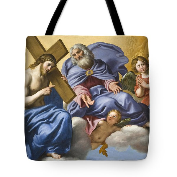 Vision Of Christ And God Detail Tote Bag by Domenico Zampieri