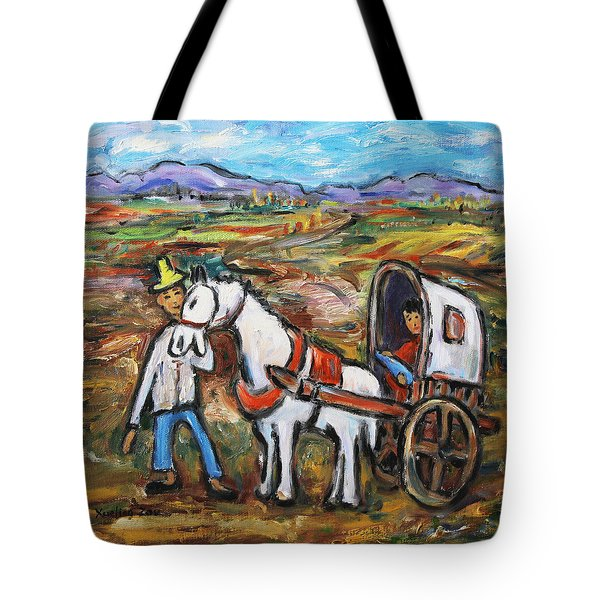 Tote Bag featuring the painting Visit The In-laws by Xueling Zou