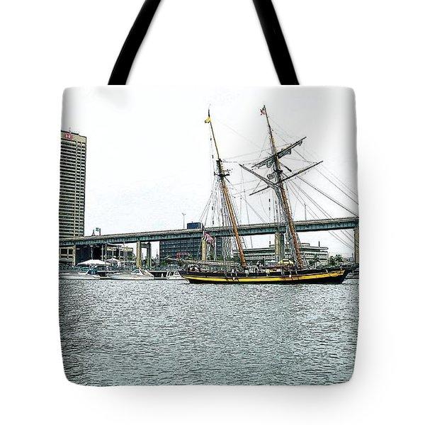 Visiting Ship Tote Bag by Kathleen Struckle