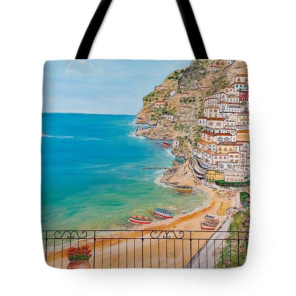 Tote Bag featuring the painting Vista Su Positano by Loredana Messina