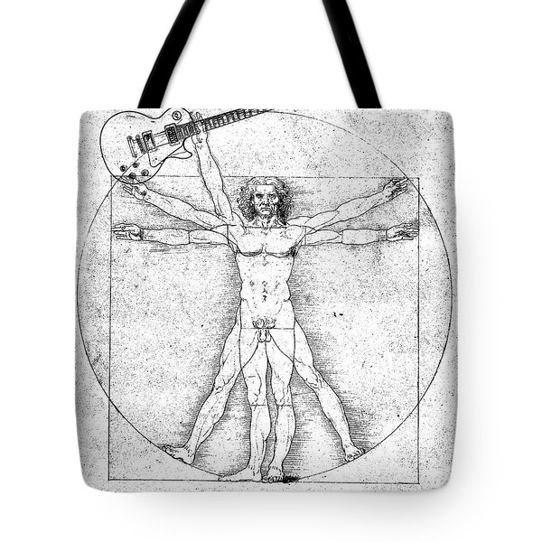 Vitruvian Guitar Man Bw Tote Bag