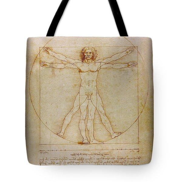 Tote Bag featuring the drawing Vitruvian Man By Leonardo Da Vinci  by Karon Melillo DeVega