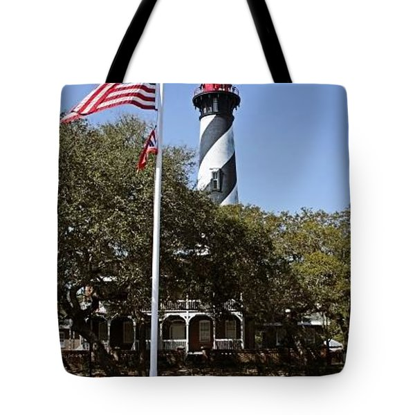 Viva Florida - The St Augustine Lighthouse Tote Bag by Christine Till