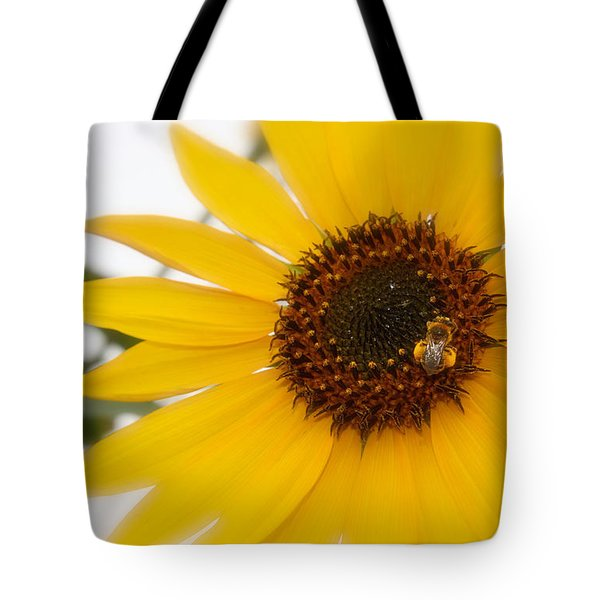 Tote Bag featuring the photograph Vivid Sunflower With Bee Fine Art Nature Photography  by Jerry Cowart