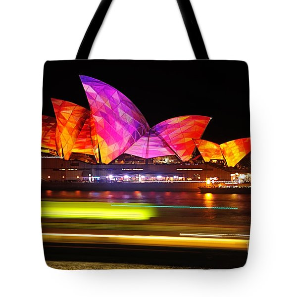 Vivid Sydney By Kaye Menner - Opera House ... Triangles Tote Bag by Kaye Menner