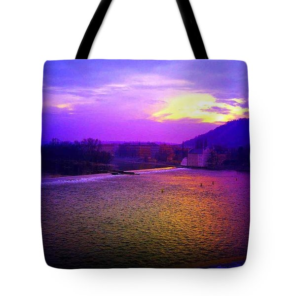Vltava River Prague Sunset Tote Bag
