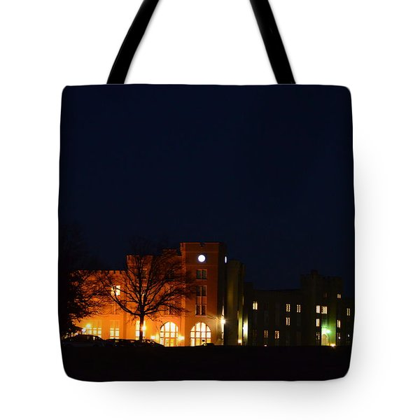 Tote Bag featuring the photograph Vmi Night Lights by Cathy Shiflett