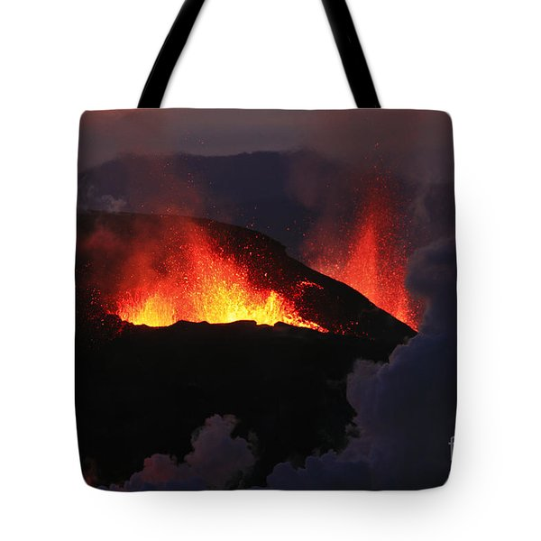 Tote Bag featuring the photograph Volcanic Eruptions by Gunnar Orn Arnason