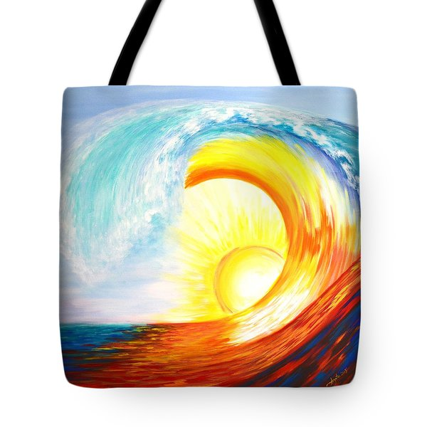 Tote Bag featuring the painting Vortex Wave by Agata Lindquist