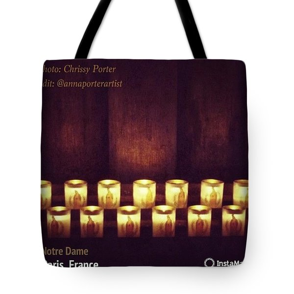 Votive Candles - Notre Dame Cathedral Tote Bag by Anna Porter