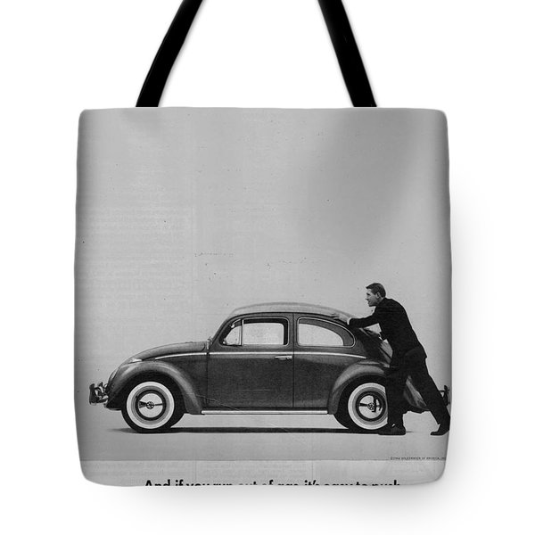 Vw Beetle Advert 1962 - And If You Run Out Of Gas It's Easy To Push Tote Bag by Georgia Fowler