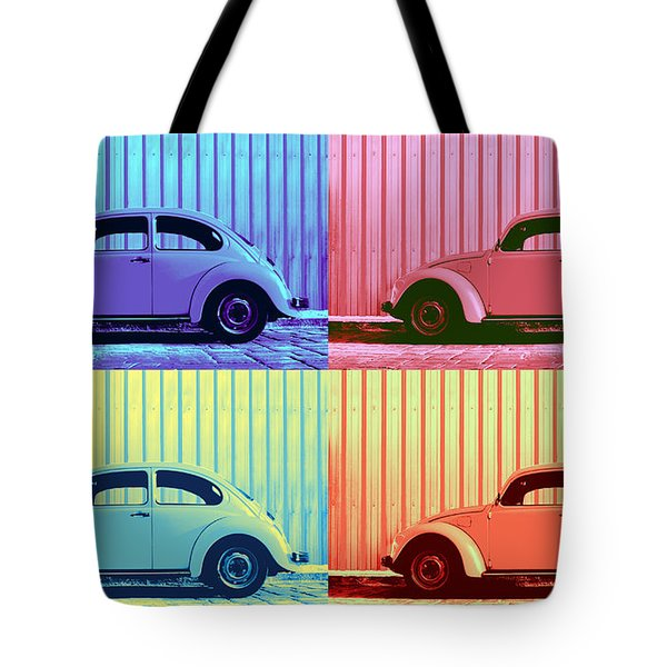 Vw Beetle Pop Art Quad Tote Bag by Laura Fasulo