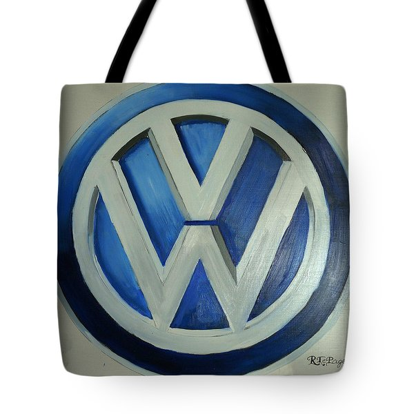 Tote Bag featuring the painting Vw Logo Blue by Richard Le Page