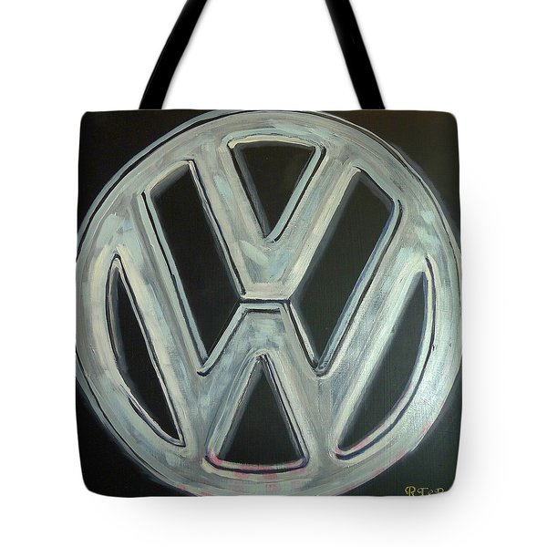 Tote Bag featuring the painting Vw Logo Chrome by Richard Le Page