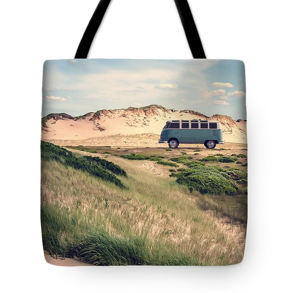 Vw Surfer Bus Out In The Sand Dunes Tote Bag by Edward Fielding
